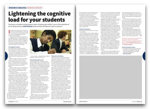 Working memory: lightening the cognitive load for pupils