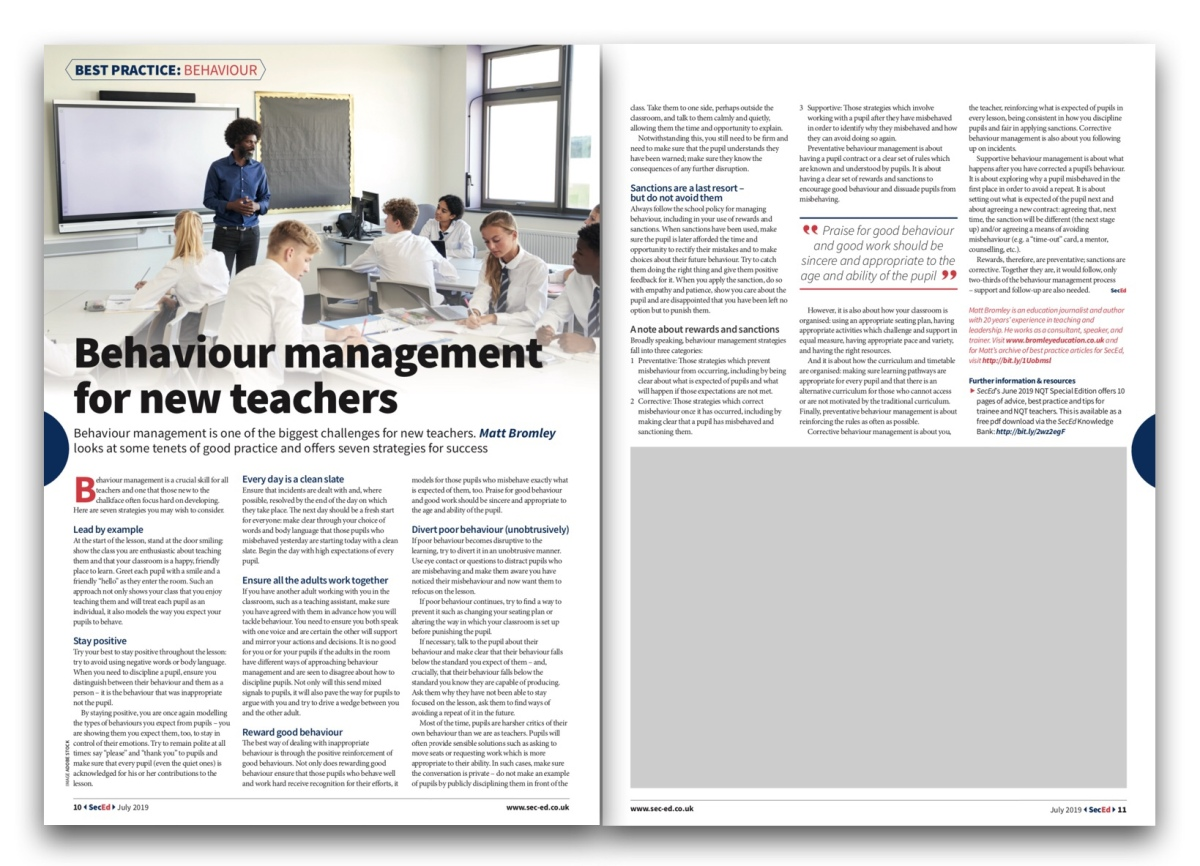 Behaviour management advice for new teachers | Bromley